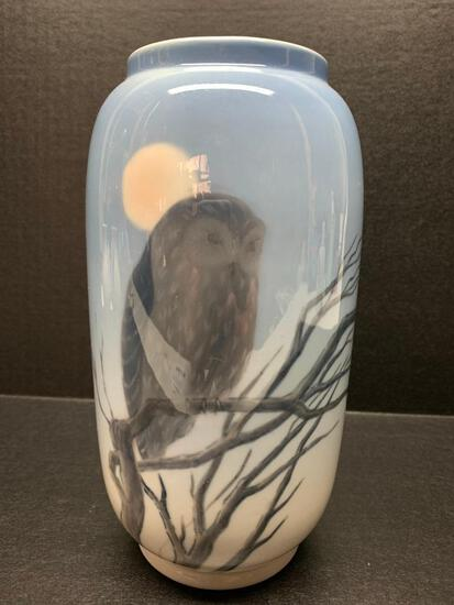 """Royal Copenhagen Porcelain Vase w/Owl Design. This is 8"""" Tall - As Pictured"""