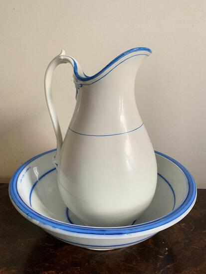 """Pottery Water Pitcher & Basin. The Pitcher is 15"""" Tall - As Pictured"""