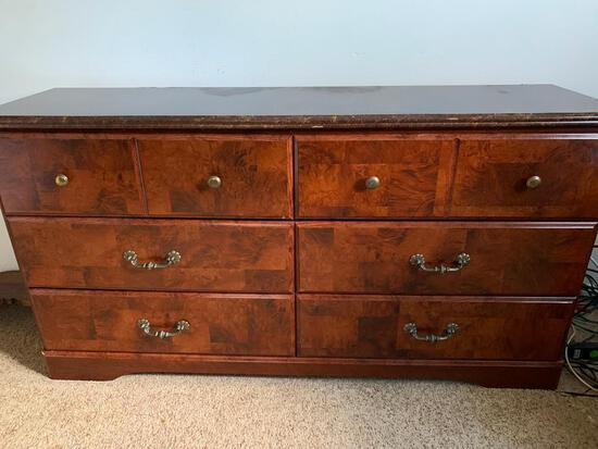 """Wood 6 Drawer Dresser w/Faux Marble Top. Has Large Scratch on Top. This is 30"""" T x 58"""" W x16"""" D"""