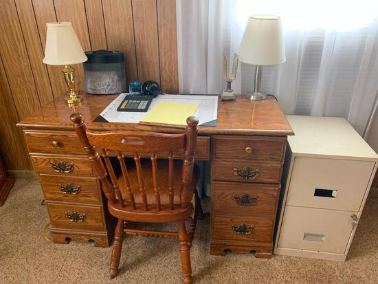 Wood Desk w/Chair & Everything Showing - As Pictured