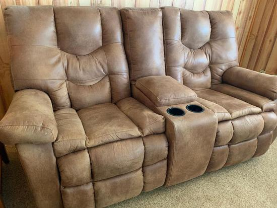"""Oversized Faux Leather Double Recliner w/Cup Holders. This is 42"""" T x 78"""" L x 33"""" D - As Pictured."""