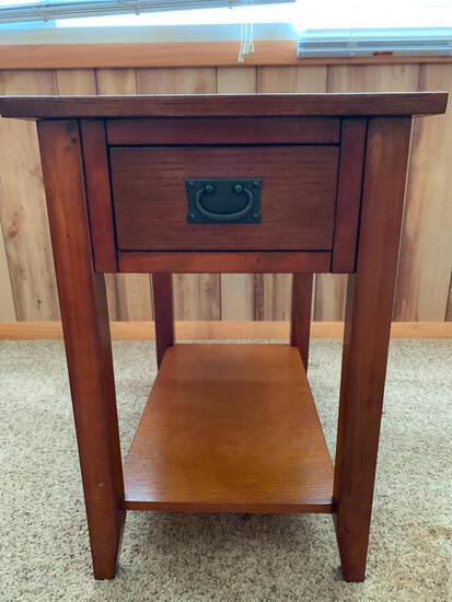 "Wood Side Table w/Drawer. This is 24"" T x 16"" W x 24"" D. - As Pictured"