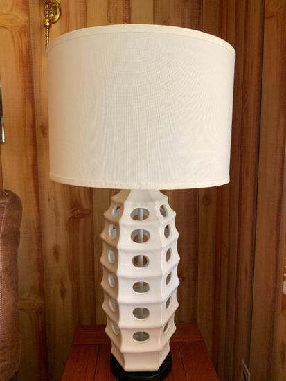 """Art Deco Ceramic Lamp w/Shade. This is 31"""" Tall - As Pictured"""