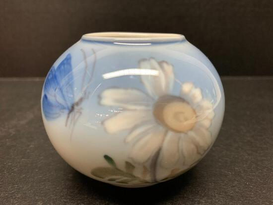 """Royal Copenhagen Porcelain Vase w/Butterfly Design Marked 2688. This is 2.5"""" Tall - As Pictured"""