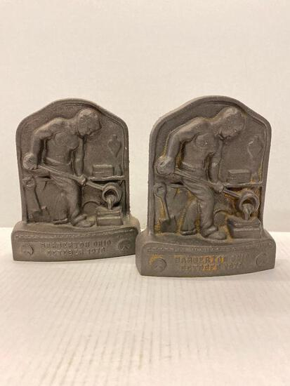 """Cast Iron Bookends from Barberton, Ohio. They are 7.5"""" Tall - As Pictured"""