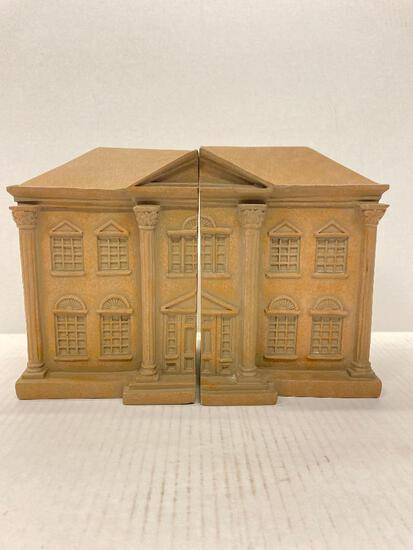 """Pair of Resin Bank Bookends. They are 7.5"""" Tall - As Pictured"""
