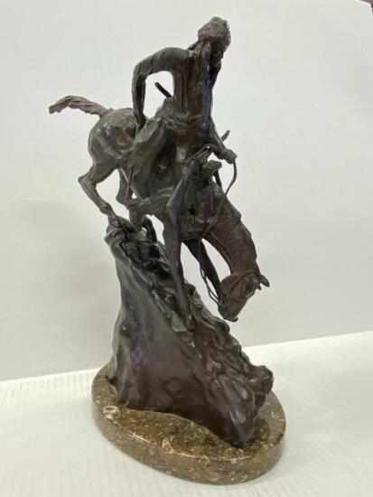 """Frederic Remington Bronze Statue """"Mountain Man"""". This is 13"""" Tall - As Pictured"""