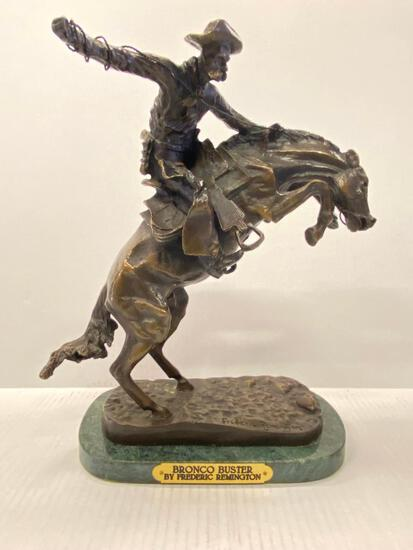 """Frederic Remington Bronze Statue """"Bronco Buster"""" Sculpture & Signed. This is 13"""" Tall - As Pictured"""