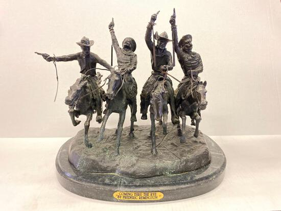 """Frederic Remington Bronze Statue """"Coming Thru the Rye"""". This is 13.5"""" T x 14"""" L. - As Pictured"""