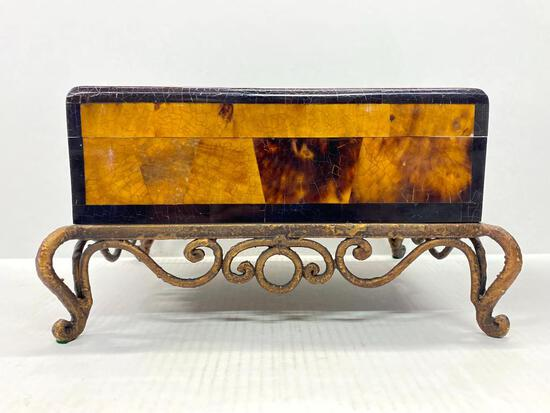"""Wood Inlay Jewelry Box w/Metal Stand . This is 6.5"""" T x 12"""" W - As Pictured"""