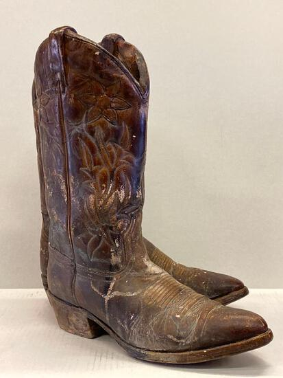 """Pair of Concrete Cowboy Boots by Austin Sculpture James Marshall. They are 15.5"""" Tall & Life Size"""