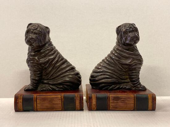 """Pair of Dog on A Book Bookends. They are 8.5"""" Tall - As Pictured"""