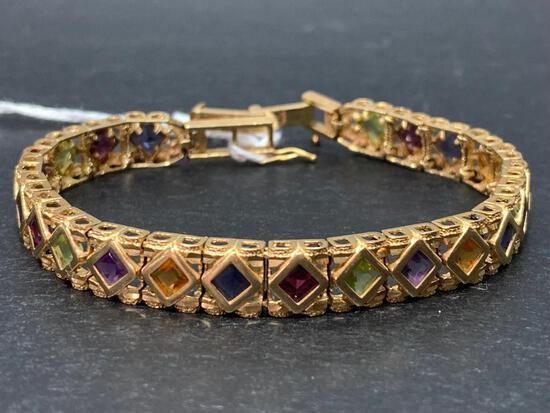 14K Gold Citrine, Amethyst Garnet Peridot Bracelet w/Safety Lock Weight-17.8 grams - As Pictured