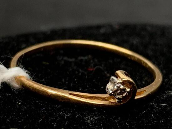 10 KT Gold Diamond Ring. The Weight is .7 Grams - As Pictured