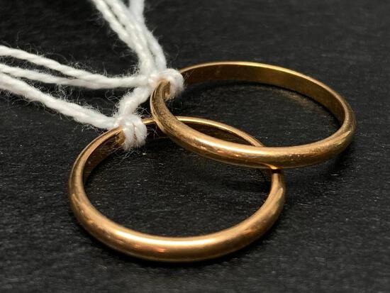 Pair of 14 KT Gold Band Rings. The Weight is 1 Gram - As Pictured