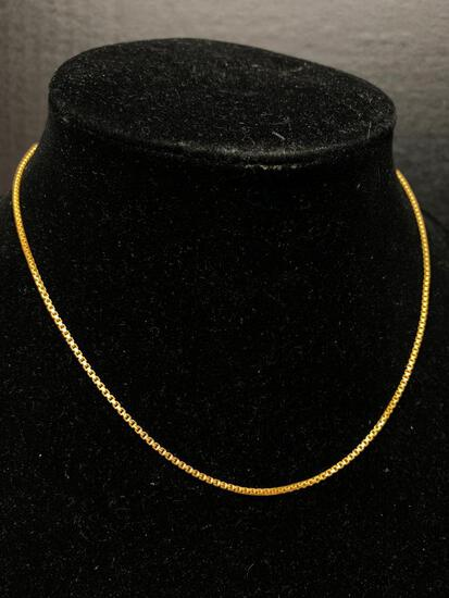 """22 KT 16"""" Box Chain. The Weight is 8.2 Grams - As Pictured"""
