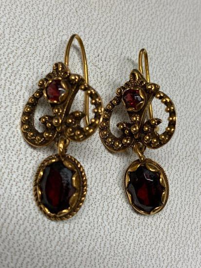 14 K Gold Genuine Garnet Earrings (January Birthstone) The Weight is 5.7 Grams - As Pictured