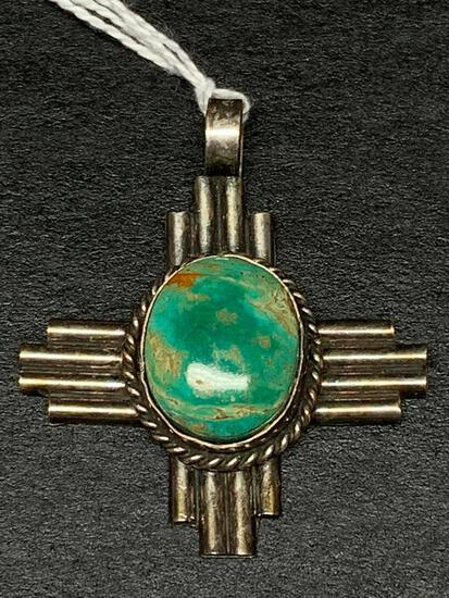 Sterling & Turquoise Pendant Weight 15 gm - As Pictured