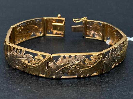 """18 K, 7"""" Long 750 Italian Gold Bracelet w/Safety Lock Weight - 22 gm - As Pictured"""