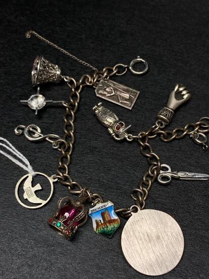 Sterling Silver Charm Bracelet - As Pictured