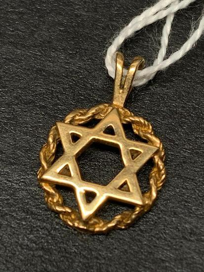 14 K Gold Jewish Star Charm.- As Pictured