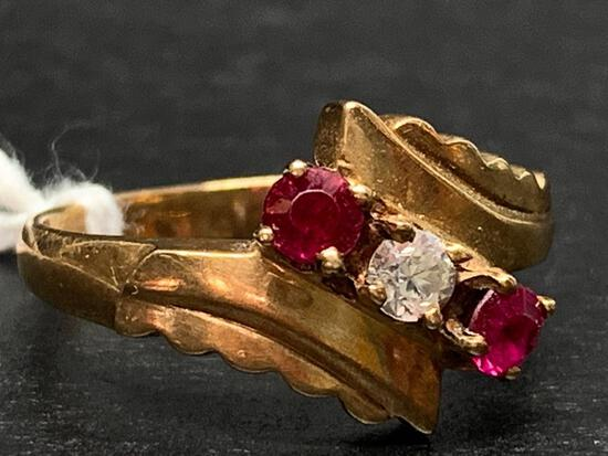 10 K Gold Diamond & Ruby Ring. The Weight is 3 Grams - As Pictured