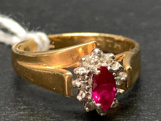 10 K Gold Ruby & Diamond Ring.The Weight is 2.7 gm - As Pictured