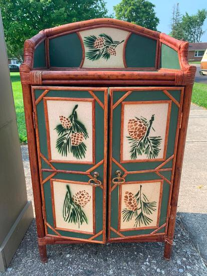 """Small Hand Painted Wood & Bamboo Cabinet w/Double Doors. This is 30"""" T x 20"""" W x 14"""" D - As Pictured"""