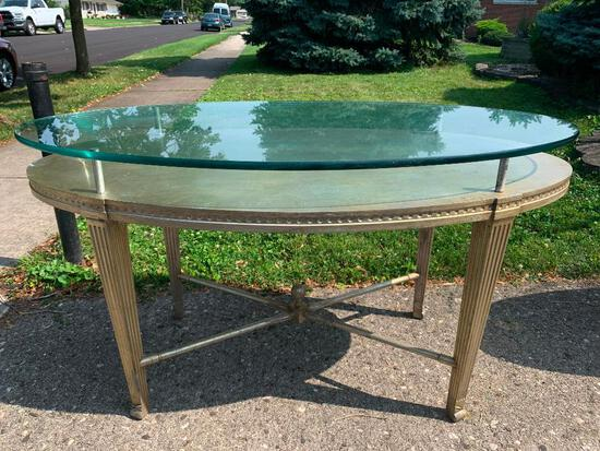 """Wood Side Oval Desk with Raised Glass Top. This is 33"""" T x 59"""" L x 30"""" W - As Pictured"""