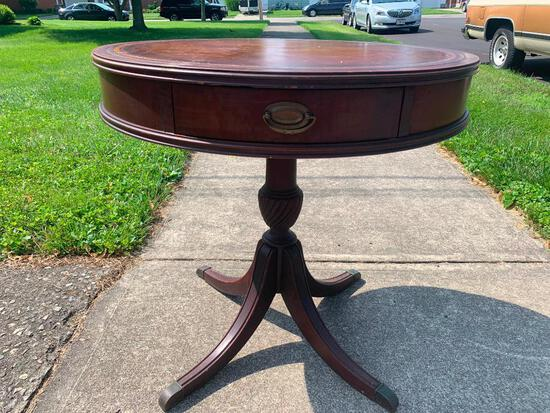 """Vintage Leather inlay Drum Table w/Drawer. This is 27"""" T x 27.75"""" in Diameter - As Pictured"""