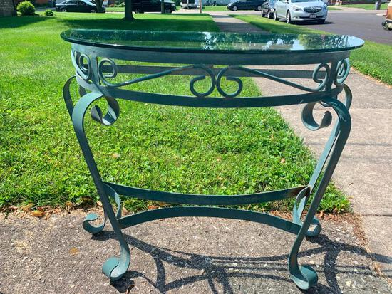 """Metal & Glass Half Table. This is 27"""" Tall x 31"""" L x 14"""" D - As Pictured"""