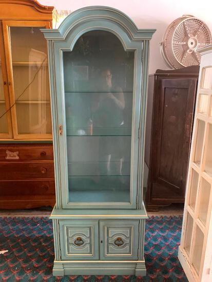 """Wood Curio w/Glass Shelves & Bottom Double Door Cabinet. This is 74"""" T x 28"""" W x 16"""" D - As Pictured"""