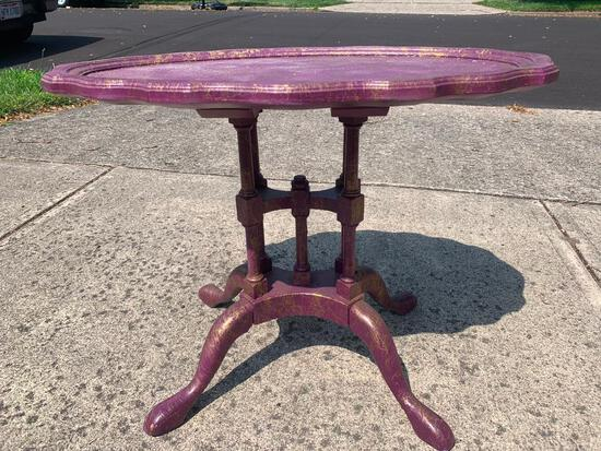 """Small Wood Hand Painted Coffee/Side Table. This is 20"""" T x 26"""" L x 18"""" W - As Pictured"""