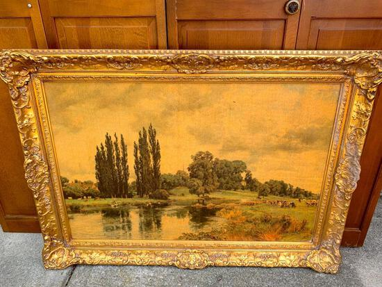 """31"""" x 41"""" Ornate Vintage Gold Frame w/Canvas - As Pictured"""