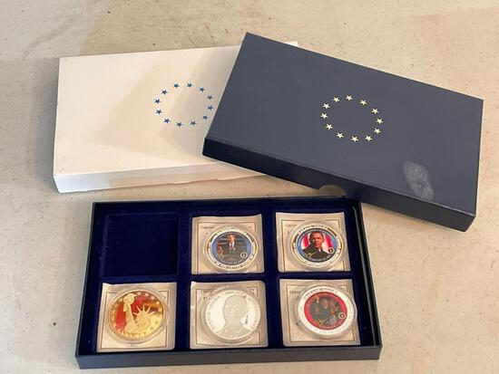 Collection of 5 Coins in Cases of the 44th President of the U.S. - As Pictured
