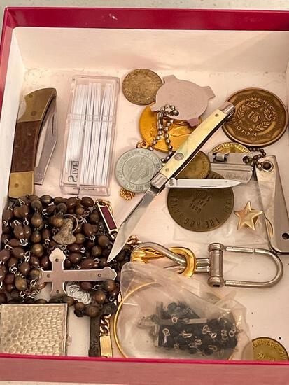 Misc Lot Incl. Rosary Beads, Pocket Knives, Costume Jewelry & More - As Pictured
