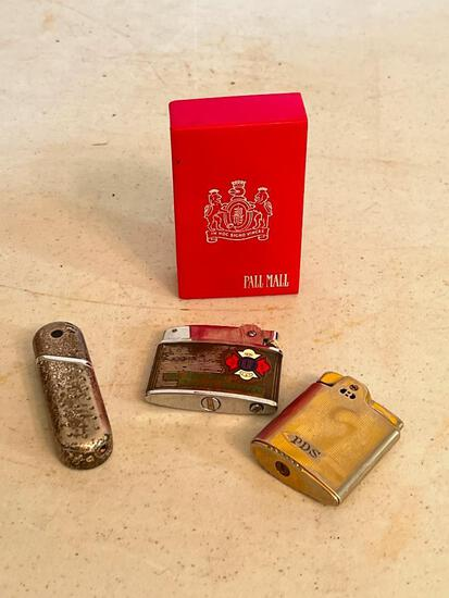 Misc Lot Incl. Vintage Pall Mall Cigarette Pack Plastic Holder & 3 Butane Lighters. One by Seabury