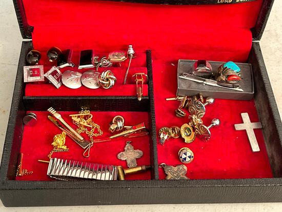 Vintage Lord Buxton Jewelry Box w/Men's Tie Tacks & Cuff Links - As Pictured