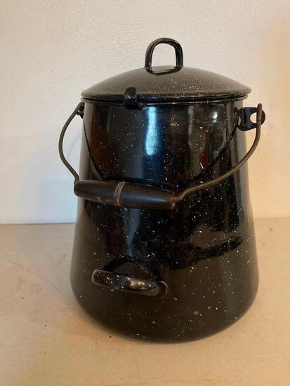 """Graniteware Coffee Pot. This is Used and is 14"""" T x 8"""" D - As Pictured"""