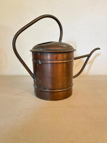"""Adorable Copper Watering Pitcher w/Patina. This is 11"""" T x 6.5"""" D - As Pictured"""
