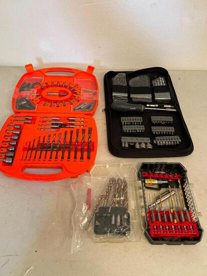 Lot of 3 Tool Bags/Boxes of Drill Bits, Screwdriver Bits & More - As Pictured