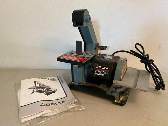"""Delta 1"""" Belt/5"""" Disc Sander Model #31-080. This is in Working Condition - As Pictured"""