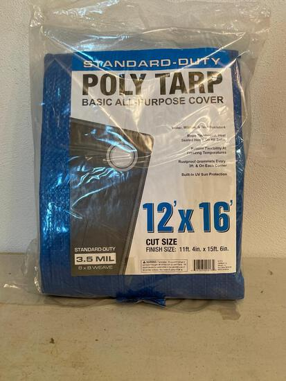 Standard Duty 12' x 16' Poly Tarp. New in Package - As Pictured