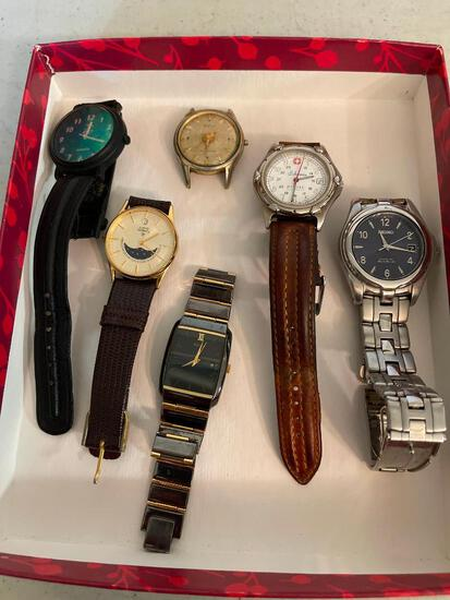 Lot of 6 Men's Wristwatches. One has Band Missing. - As Pictured