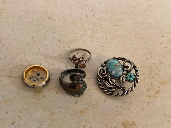 Lot of Misc. Jewelry Marked 925 or Sterling Silver Incl. Spoon Ring, Turquoise Brooch & More - As