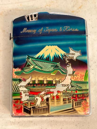 "Vintage Metal Cigarette Case/Lighter Combo ""Memory of Japan & Korea"". Has Some Paint Chipping"