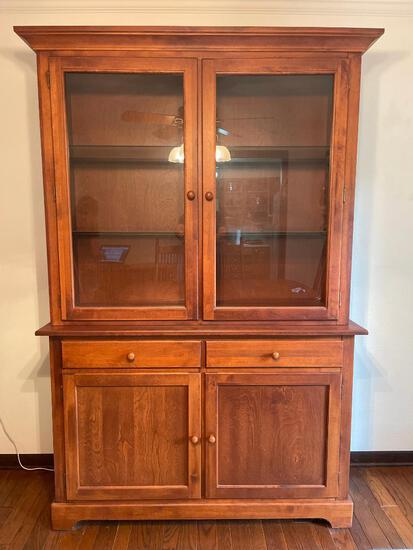 """Nice 2 Piece China Hutch w/Interior Light Made in Canada. This is 79"""" t x 52"""" W x 18"""" D"""