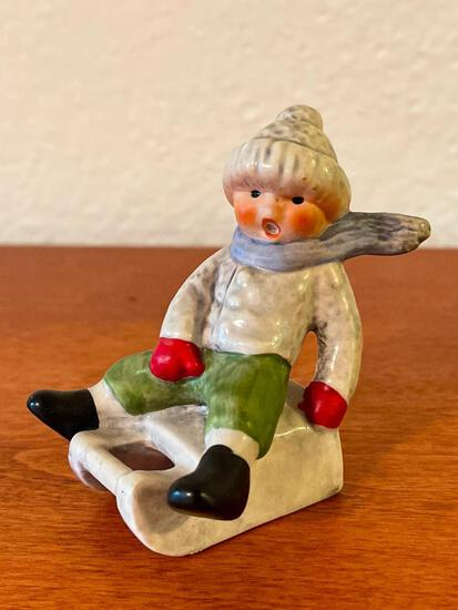 """Vintage Hummel Boy on Sled. This is 3"""" Tall - As Pictured"""