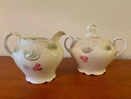 Porcelain Cream & Sugar Bowl - As Pictured