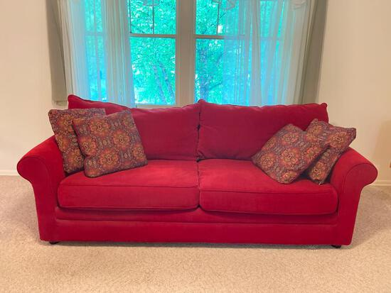 """Burgundy Sofa Corduroy Style Material by Sofa Express. Gently Used. This is 30"""" T x 87"""" L x 39"""" D"""